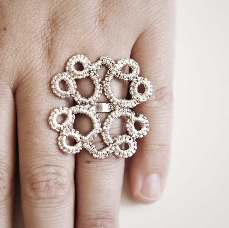 Square Tatted Ring  by KajsJewelry.com $140