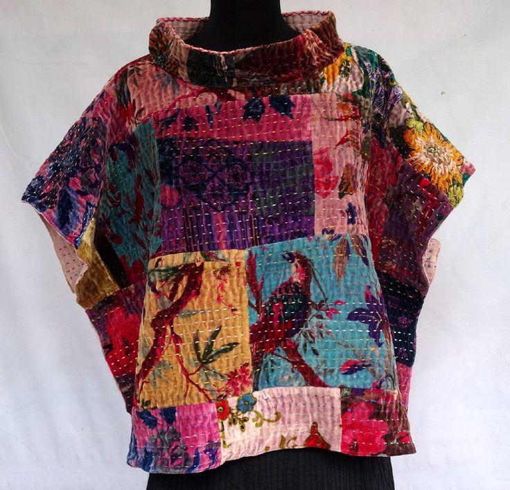 PULL PONCHO mini en patchwork de velours , gaudri . : Manteau, Blouson, veste par akkacreation