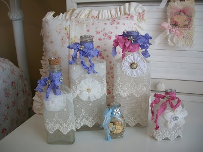 bottles I have embellished at bunny cottage