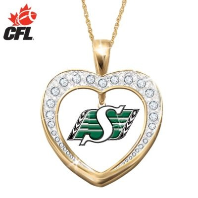 Saskatchewan Roughriders Reversible Heart Pendant Necklace