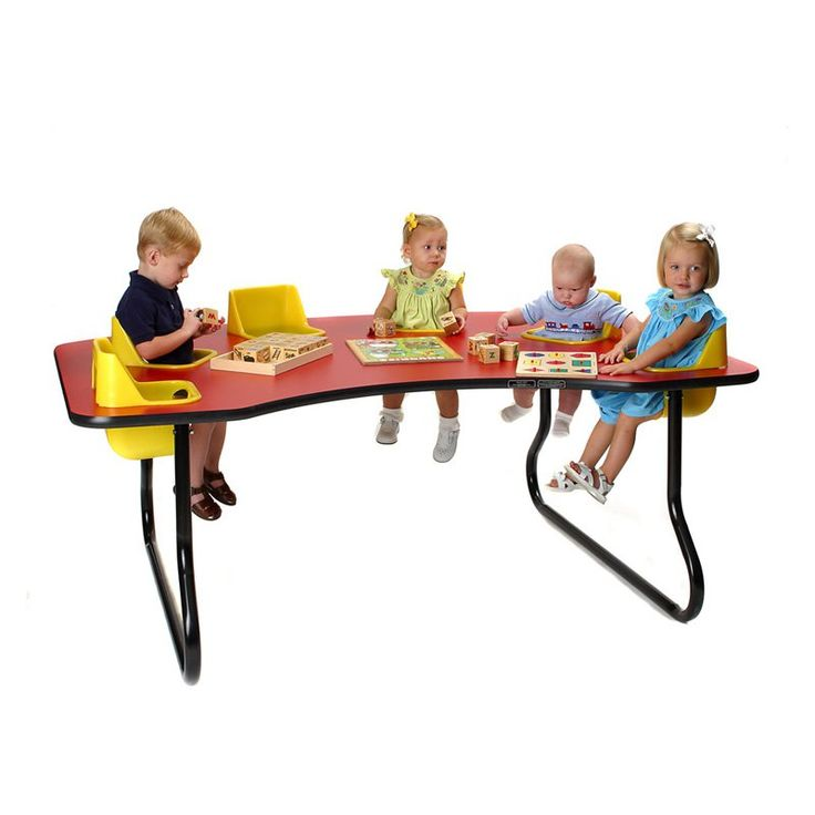 Exceptional 6 Seat Toddler Activity Table   6 SEATTABLE OAK YELLOWSEAT 14 IN.