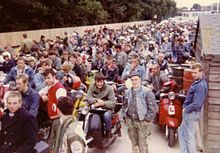 Isle of Wight - Riders and passengers waiting for the ferry after the Isle of Wight scooter rally in August 1983