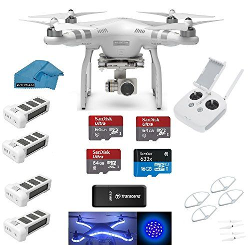 DJI Phantom 3 Advanced Quadcopter Drone with HD Camera EVERYTHING YOU NEED Kit + 3 DJI Extra Batteries + Prop Guards + 3 SanDisk 64GB Micro SD Cards + Reader + Koozam Light Strip + Headlight + Cloth drone reviews