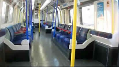 Interior of London Underground Piccadilly Line Carriage