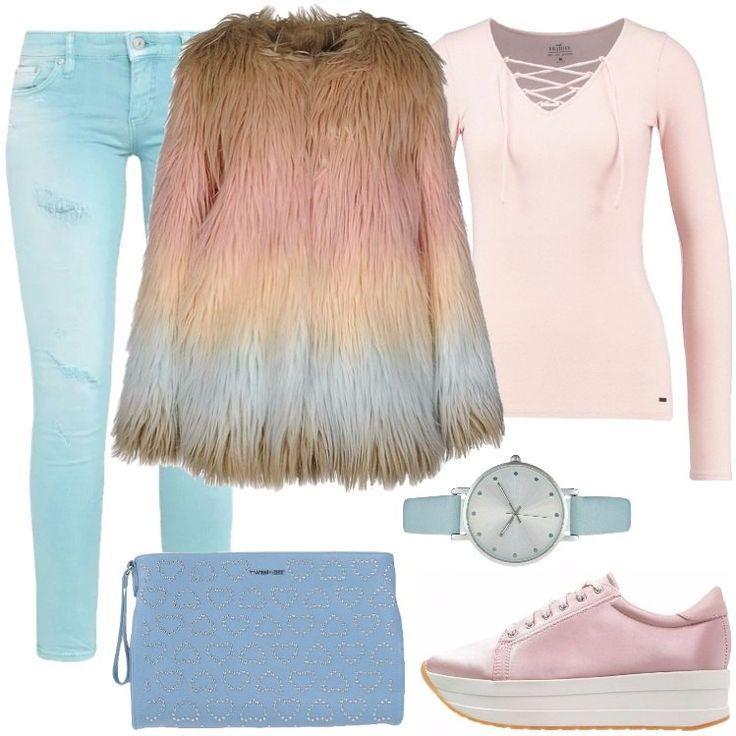 Se amate il rosa come me, questo look fa per voi. Pelliccia multicolore caldissima, maglia a maniche lunghe rosa ed un jeans skinny. Scarpe rosa con rialzo ed una piccola pochette per metterci l'essenziale.