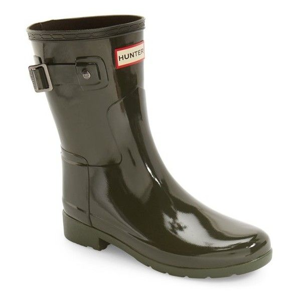 Women's Hunter 'Refined Short' Gloss Rain Boot (£120) ❤ liked on Polyvore featuring shoes, boots, dark olive, rain boots, wellies boots, short rain boots, shiny boots and short welly boots