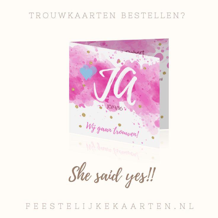 Trouwkaarten maken? Maak dan deze kaart met waterverf. Een kaart in aquarel roze met JA en gouden confetti. Nu te bestellen bij FeestelijkeKaarten