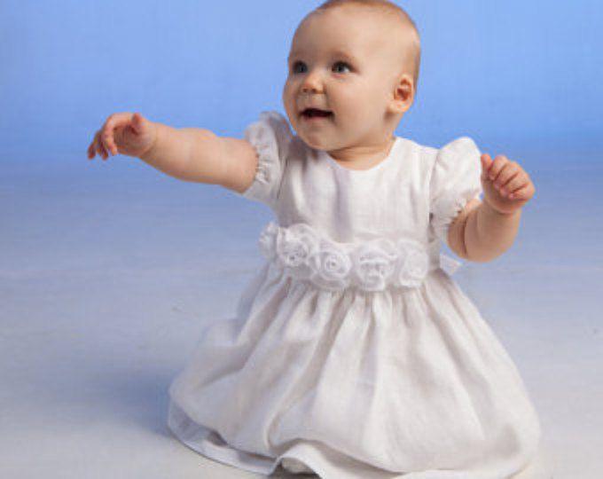 Bautismo de niña bebé vestido de niña de bautizo vestido flor chica vestido blanco niña vestido de lino chica ocasión especial bendición Vestido de cumpleaños del bebé