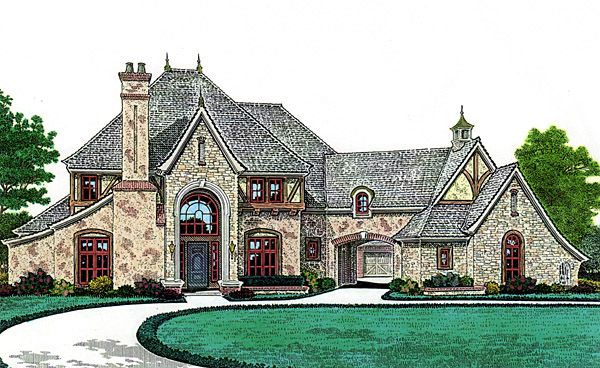French country southern house plan 66247 3 car garage for French country house plans with porte cochere