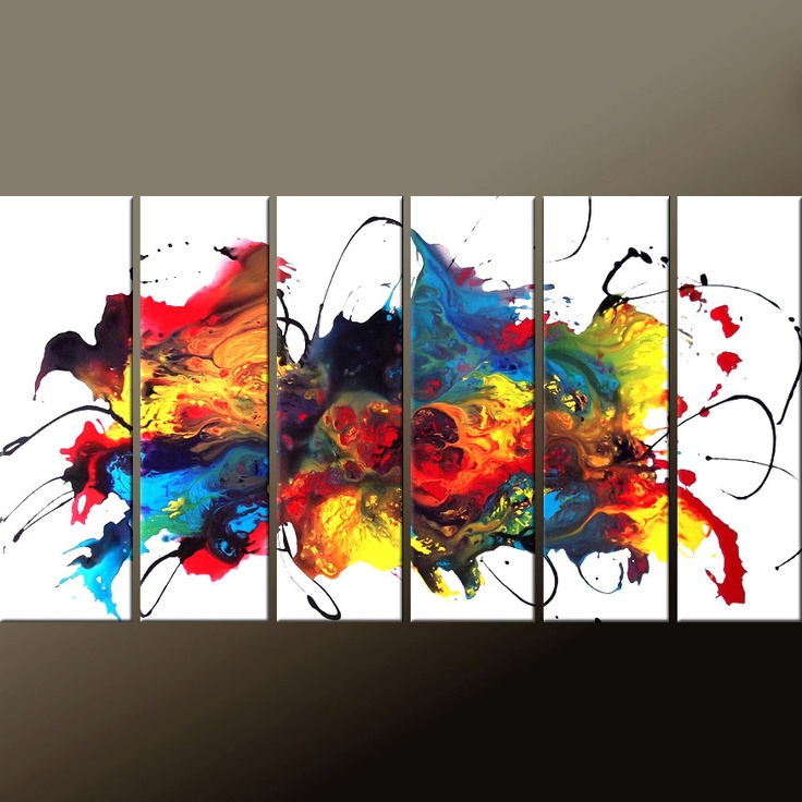 6pc Abstract Canvas Art Painting  72x36 Contemporary by wostudios, $389.00