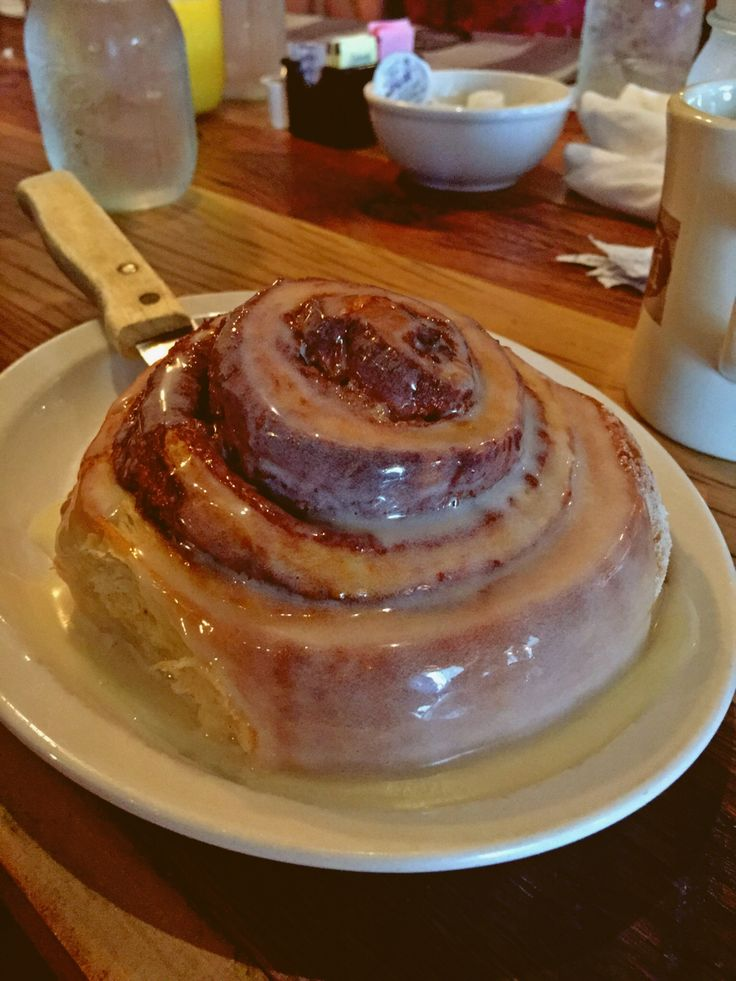 """Crockett's Breakfast Camp Gatlinburg, TN Famous Cinnamon roll. It is easily shareable between several people as a breakfast """"appetizer"""" and DELICIOUS!"""