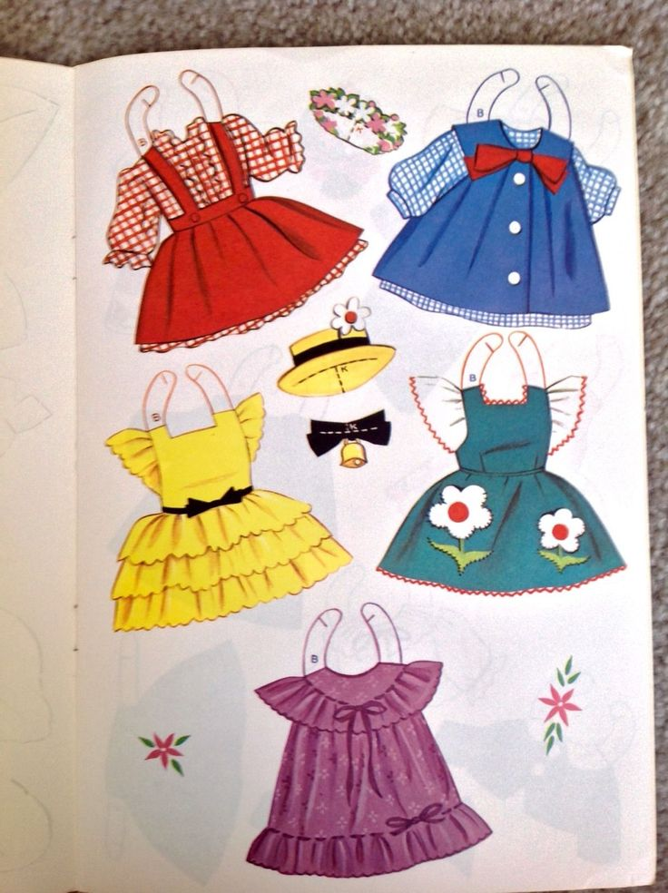 Kindergarten Fashions Paper Doll Book Uncut 1964 Vintage 8 Pages of Clothes | eBay
