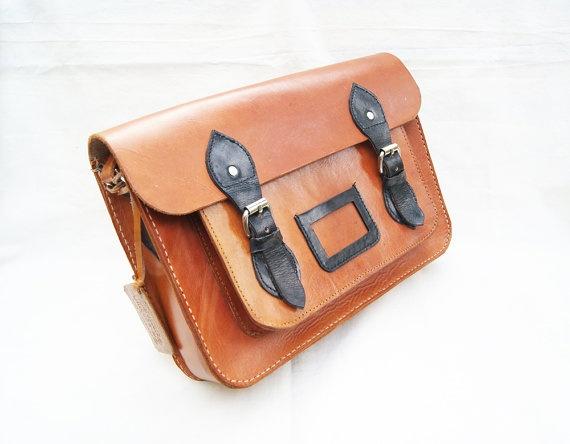 Cambridge Satchel Bag Handstitched Genuine by CoruscateLeatherBag, $160.00