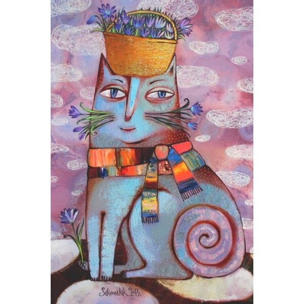 Postcard March cat by Anna Silivonchik