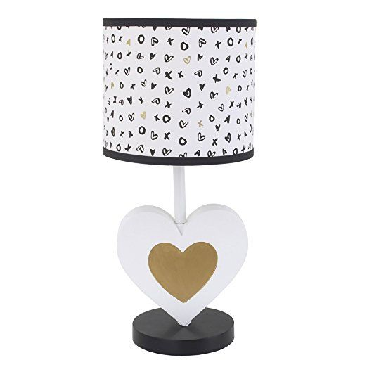 XOXO Black White And Gold Nursery Lamp With Shade By NoJo