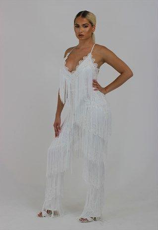 3ad44cdc9e9 White+tassel+fringe+plunge+jumpsuit