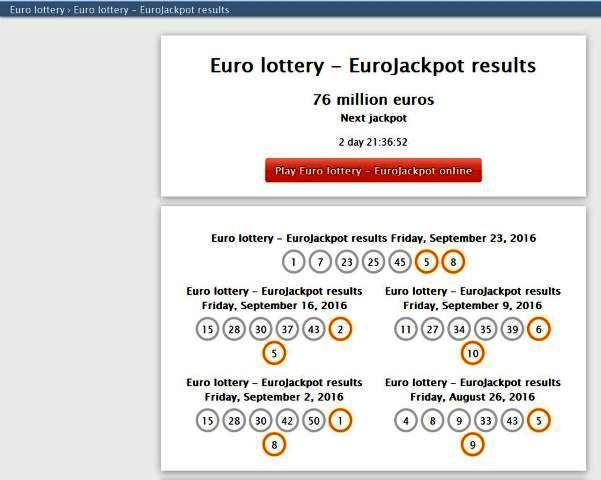 http://eurooppalotto.com/euro-lottery-eurojackpot-results-l-153.html | Euro lottery EuroJackpot results - Eurojackpot is an european lottery played 17 different countries with jackpots from €10 million euros to €90 million euros.