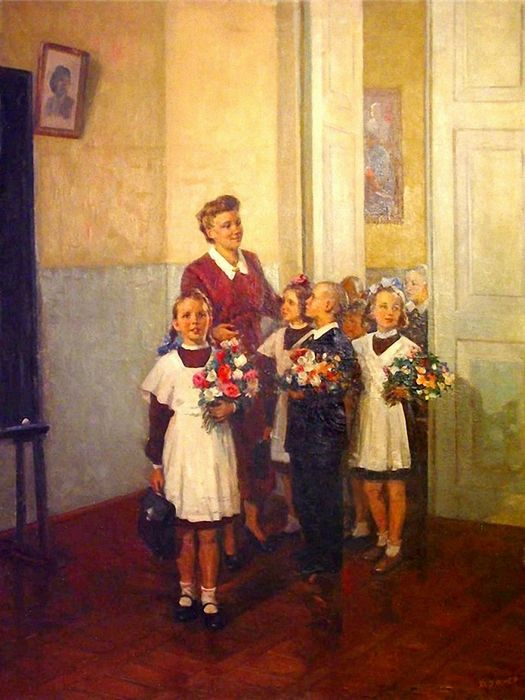 1950 artist A.Kerzhner | Александр Кержнер 'В Первый Класс' | The 1st of September is the beginning of the school year in The USSR/Russia.