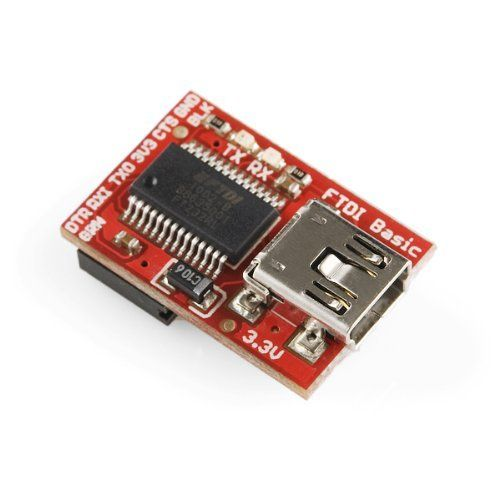 FTDI Basic Breakout - 3.3V by SparkFun. $16.95. This is the newest revision of our FTDI Basic. We now use a SMD 6-pin header on the bottom, which makes it smaller and more compact. Functionality has remained the same.   This is a basic breakout board for the FTDI FT232RL USB to serial IC. The pinout of this board matches the FTDI cable to work with official Arduino and cloned 3.3V Arduino boards. It can also be used for general serial applications. The major dif...