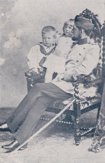 Ferdinand with Prince Carol (later King Carol II) and Princess Elisabeth, his two eldest children.