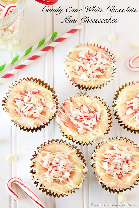 Candy Cane White Chocolate Mini Cheesecakes are the perfect take-along dessert for the holidays! by www.whatscookingwithruthie.com #recipes #dessert #holidays