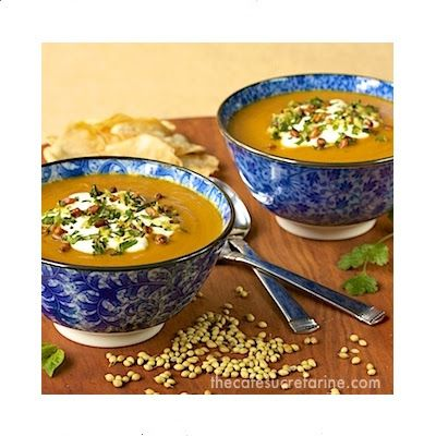 ... carrot amp coriander soup w toasted pine nut amp fresh herb gremolata