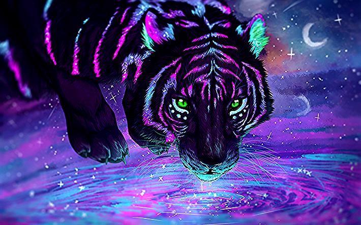 Herunterladen Hintergrundbild Tiger Fantasy Art Predators Wildlife Tiger Art Tiger Wallpaper Fantasy Art