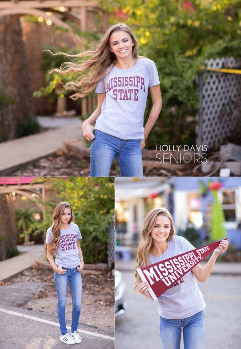Urban street style high school senior portrait session, college t-shirt senior p…