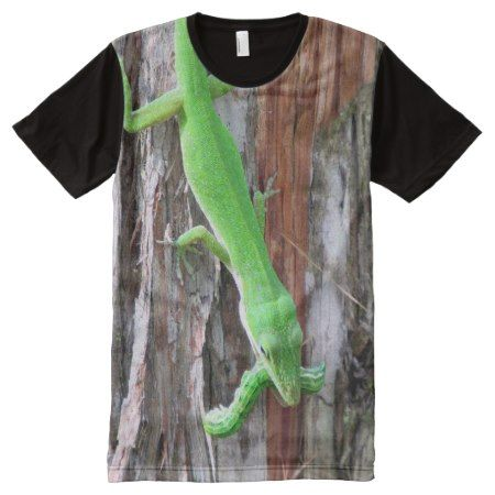 Green Anole Lizard Lunchtime T-Shirt (0839) - click to get yours right now!