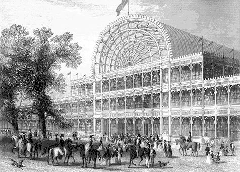 The front entrance of the Crystal Palace, Hyde Park, London that housed the Great Exhibition of 1851, the first World's Fair.  This image (or other media file) is in the public domain because its copyright has expired.  This applies to Australia, the European Union and those countries with a copyright term of life of the author plus 70 years.