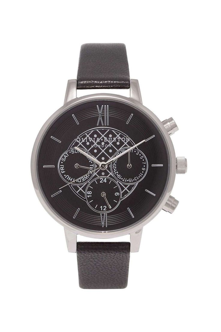 **Olivia Burton Big Dial Chrono Detail Black and Silver Watch - Sale & Offers- Topshop