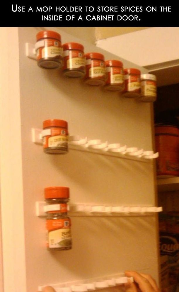 reuse mop holder to store spices