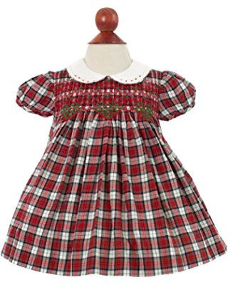 Girl's Hand Smocked Holiday Dress - Red Flannel Diamond Design