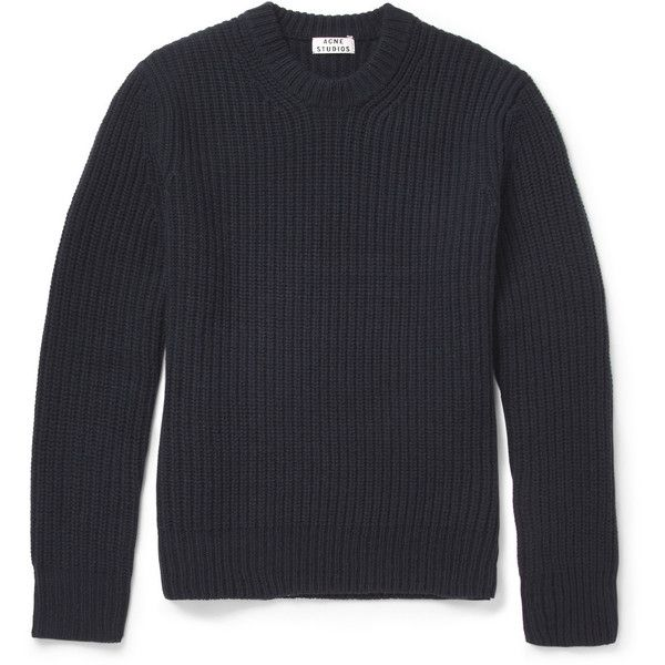 Acne Miles Chunky Ribbed Wool Sweater (440 CAD) ❤ liked on Polyvore featuring men's fashion, men's clothing, men's sweaters, men, tops, men's sweater, sweaters, blue, mens wool sweaters and mens woolen sweaters