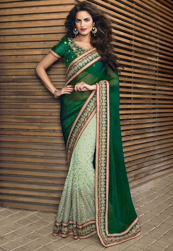 Tantalizing Tea Green and Bottle Green Saree