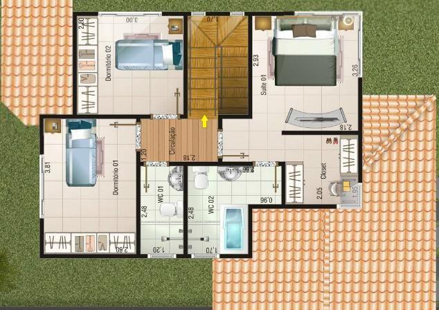0012 plano de casa moderna 133m2 3 dormitorios y 2 pisos for Planos de casas de 2 pisos
