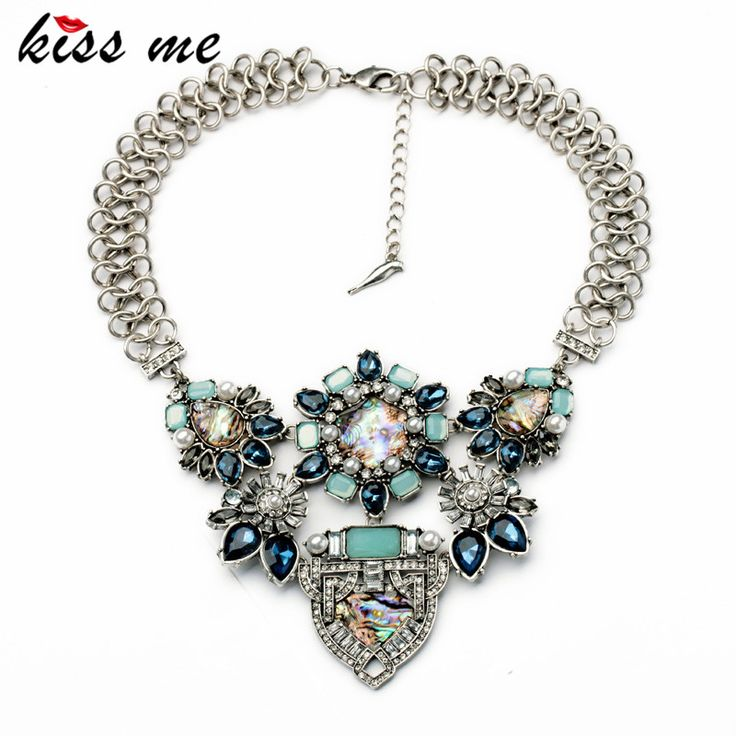 KISS ME Exaggerated Simulated Gemstone Flower Chunky Popcorn Chain Statement Necklace Fashion Bijoux Jewelry for Women