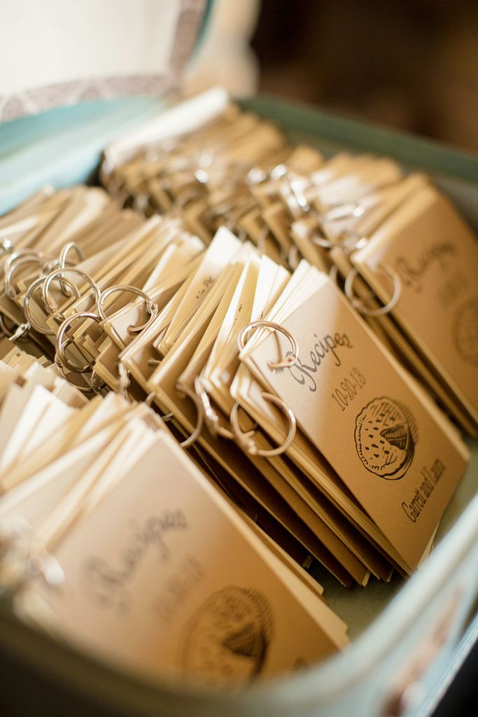 Check out these mini recipe book wedding favors | I probably won't do this for my wedding, but for some reason a lot of people follow this board, and it was too good of an idea to not pass along.
