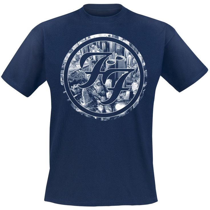 "Classica T-Shirt uomo blu ""Sonic Highways - City Circles"" dei #FooFighters con ampia stampa frontale."