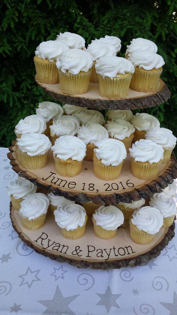 Rustic Cupcake Stand Rustic Wedding Log Slice by YourDivineAffair