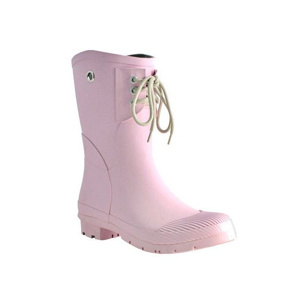 Women's Nomad Kelly B Rain Boot ($52) ❤ liked on Polyvore featuring shoes, boots, casual, pink, rain boots, pink boots, water proof boots, wellington boots and pink shoes