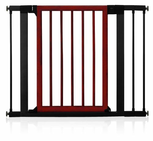 """$76.47-$79.99 Munchkin Deco Wood Gate (Dark Wood)This sturdy steel and wood constructed gate fits everywhere from top of stairs to doorways and openings. It includes both hardware and pressure mounts and extends from 29.5"""" to 40.5"""" with 3 included extensions. Standing at 29.5"""" this gate has a designer aesthetic that looks great in the home and features easy one-handed operation.The Munchkin Wood  ..."""