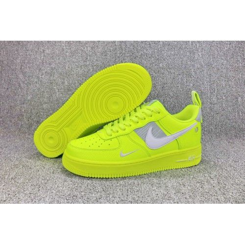 2018 Nike Force One Low Womens Mens Sneakers Fluo Green Grey