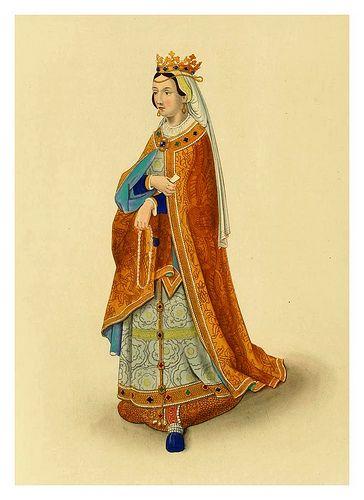 sus vestiduras medievales eran gran esencia de esta epoca los vestidos pomposos y ornamentados de la edad media, las faldas hasta los tobillos y los corsés, hasta el uso del pantalón y la minifalda, es decir, hasta el siglo XX.
