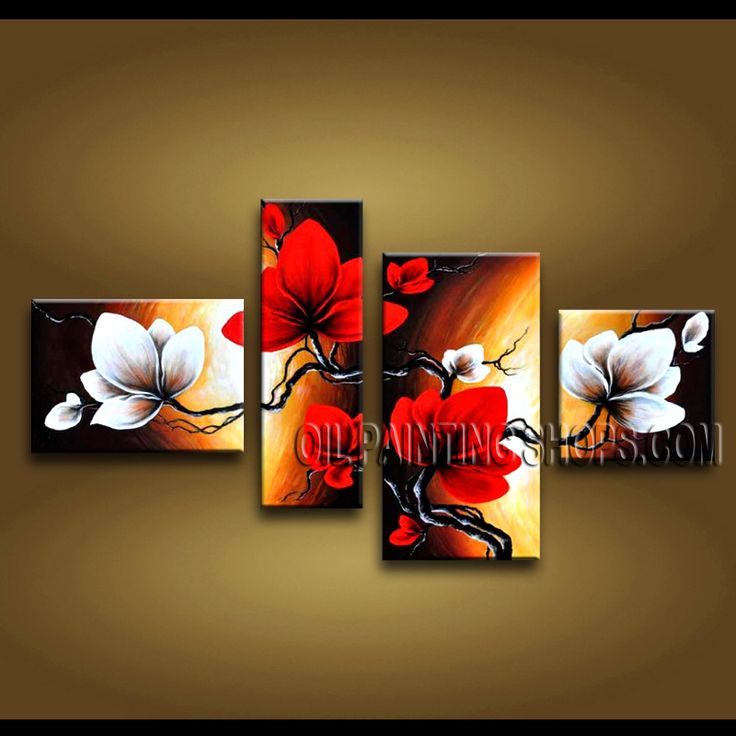 Astonishing Contemporary Wall Art Hand-Painted Art Paintings For Living Room Tulip Flowers. This 4 panels canvas wall art is hand painted by Anmi.Z, instock - $155. To see more, visit OilPaintingShops.com