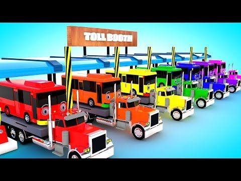 Learn Colors for Children with Toll Booth Big Truck Transporting School Buses Kids Learning Edu Vid