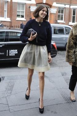 White skirt and blue sweater  alexa chung