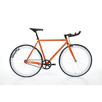 One Hand Built Fixed Gear Single Speed Bike: orange, white wheelset
