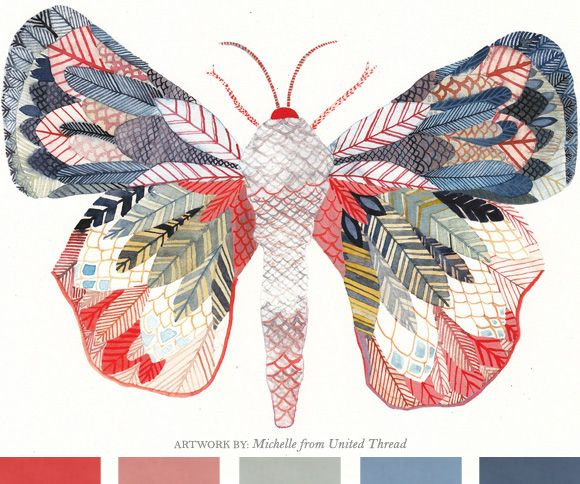 Exotic moth archival print by Michelle from United Thread.Inspiration, Contemporary Artworks, Watercolors Lessons, Unitedthread, Colors Combinations, United Thread, Large Archives, Archives Prints, Exotic Moth