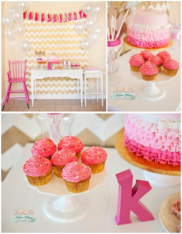 Love the pink and gold theme and the gold chevron backdrop. This is for a kid's party but many elements could work for an adult bday party, bridal shower etc.